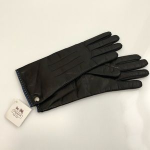 Coach Women's Black Leather Cashmere Lined Gloves